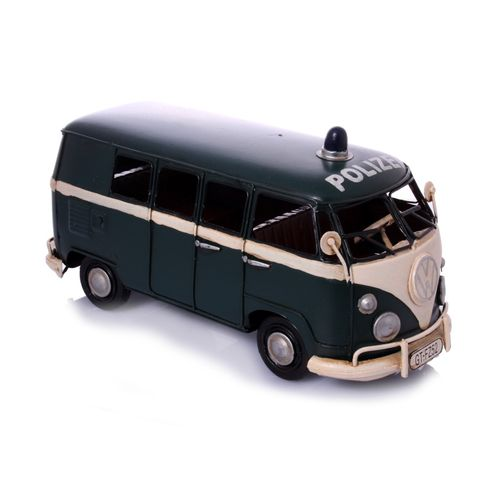 Metal Car Model - German police transporter, retro sheet metal model – image 1