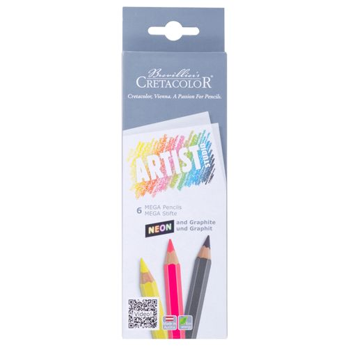 CRETACOLOR - Set of 6 MEGA Neon & graphite Artist Studio – image 1