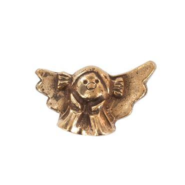 Handschmeichler Engel mit Zöpfen Bronze 4 cm