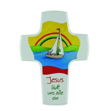 Kreuz für Kinder Jesus lädt uns ein 15 cm Holz-Kreuz