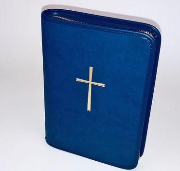Gotteslobhülle Kreuz Gold Soft-Nappa Blau