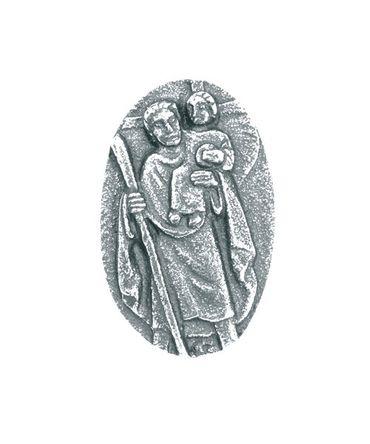 Autoplakette Christophorus Jesu 5 cm Silberbronze
