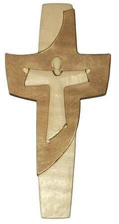 Auferstehungskreuz Holz geschnitzt gebeizt