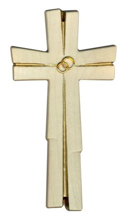 Hochzeitskreuz Ringe Holz geschnitzt goldfarben