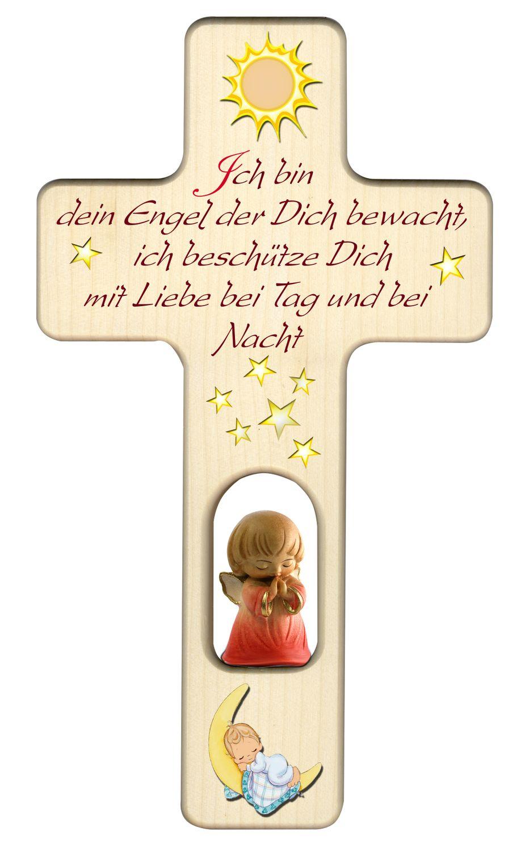 Kreuz für Kinder Schutzengel, rot Gute Nacht Gebet Holz