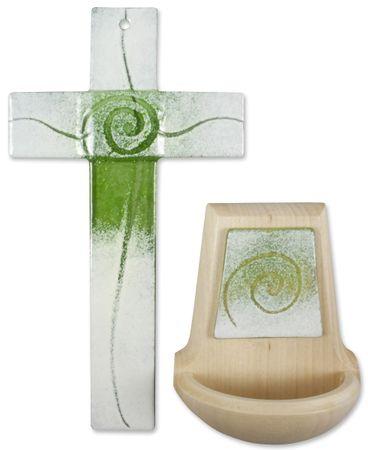 Set Glaskreuz Weihwasserkessel Spirale hellgrün weiß