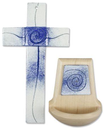 Glaskreuz Weihwasserkessel Spirale blau weiß Set