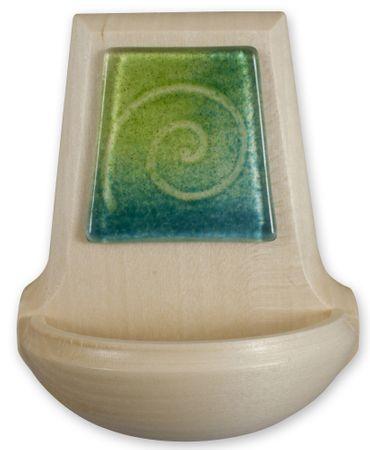 Weihwasserkessel Glasauflage Spirale grün blau 11 cm