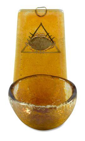Weihwasserkessel gelb Auge Gottes Blattgold 10 cm