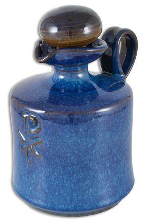 Weihwasserkrug  blau handgetöpfert 400 ml 17 cm