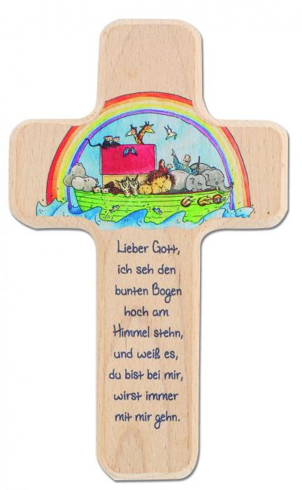 Kreuz für Kinder Arche Noah 18 cm Holz-Kreuz