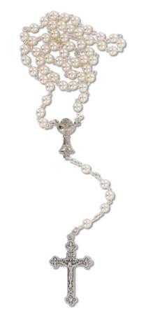 Rosenkranz Kunstguss-Perlen mit Metall Kreuz 39 cm