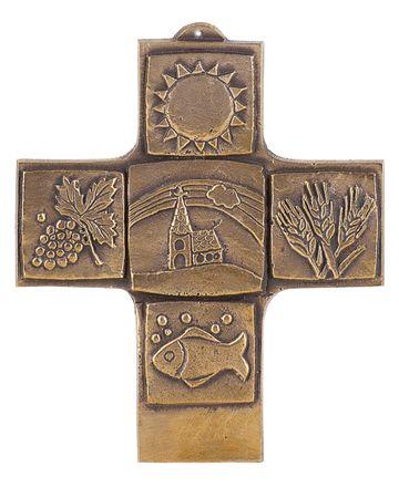 Kommunionkreuz christliche Symbole 10 cm