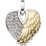 Herz Anhänger Engelsflügel 925 Silber bicolor Engel Schmuck 001