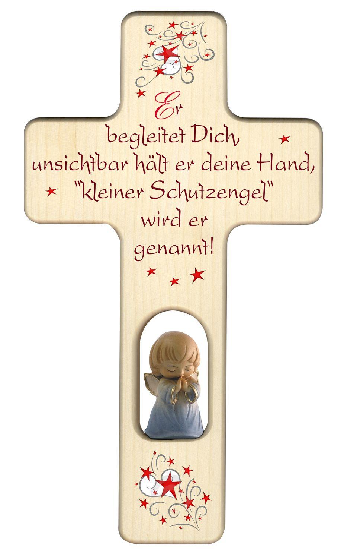 Kreuz für Kinder Schutzengel Gebet Holz-Engel, blau
