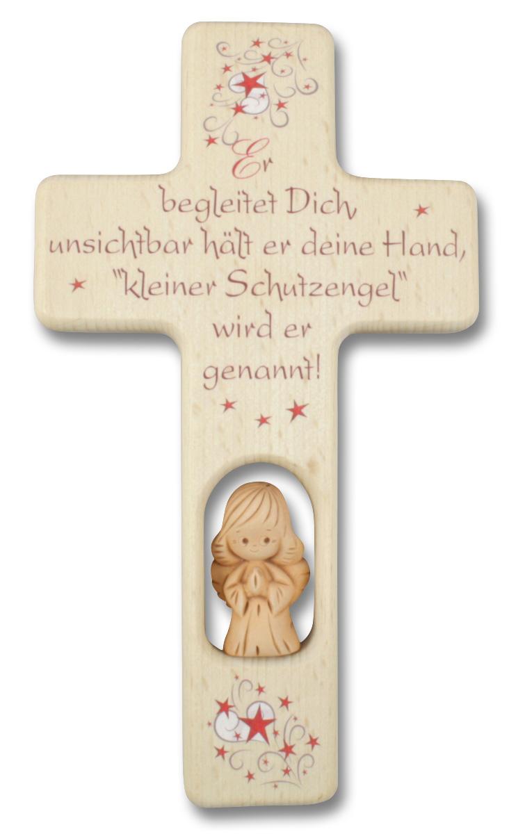 Kreuz für Kinder Schutzengel Gebet Ton-Engel Holz