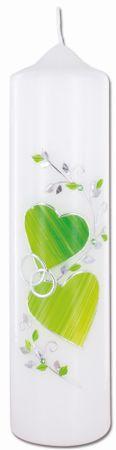 Hochzeitskerze Zwei Herzen Eheringe 26,5 cm
