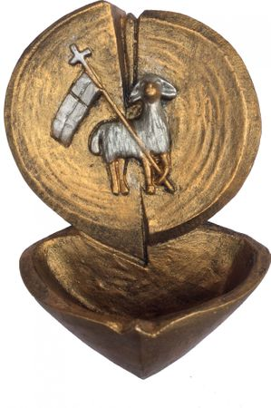 Weihwasserkessel Agnus Dei Lamm Gottes bemalt 14 cm