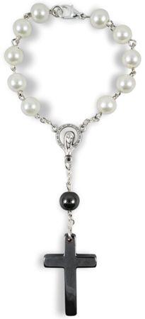 Zehner-Rosenkranz Perle weiß Kreuz Hämatit 15 cm