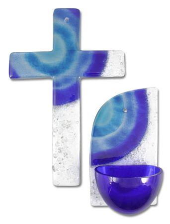 Glaskreuz + Weihkessel Set blau weiß Sonne blau