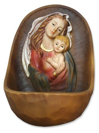 Weihwasserkessel Maria mit Jesu Kind handbemalt 12 cm