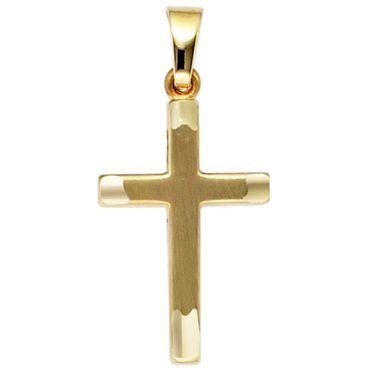 Anhänger Kreuz 333 Gelbgold mattiert Kreuzanhänger