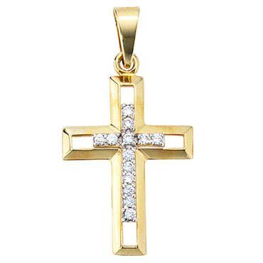 Anhänger Kreuz Zirkonia 333 Gelbgold Kreuzanhänger