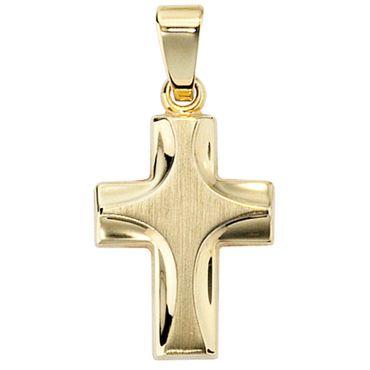 Anhänger Kreuz 585 Gelbgold mattiert Kreuzanhänger