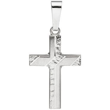 Anhänger Kreuz 925 Silber mattiert gehämmert