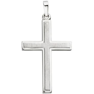 Anhänger Kreuz Liniert 925 Sterling Silber Silberkreuz