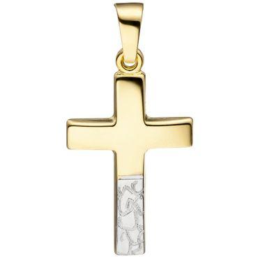 Anhänger Kreuz 333 Gelbgold bicolor diamantiert
