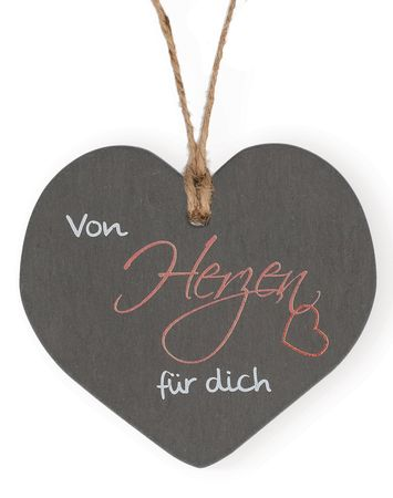 Schieferplakette Herz Von Herzen für dich Schiefertafel