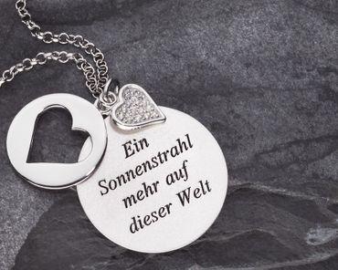 Tauf Schmuckanhänger Herz 3 tlg Zirkonia Silberkette