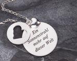 Herz-Anhänger Taufe Geschenk 3 teilig 925 Silber poliertes Herz, Kette – Bild 1