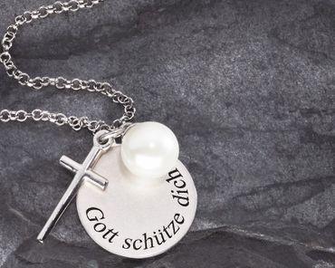 Anhänger Gott schütze Dich 3-tlg. Kreuz Perle, Kette