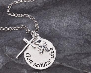 Anhänger Gott schütze Dich 3-tlg. Kreuz Bär, Kette