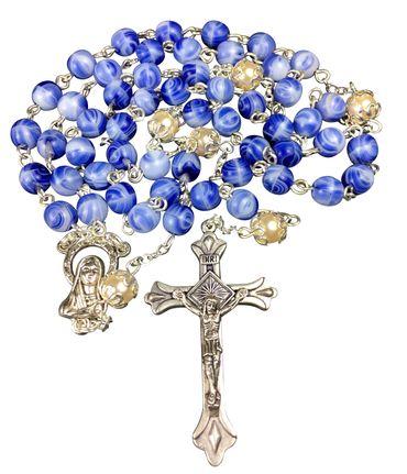 Rosenkranz Vater-Unser Glasperle blau rund 48 cm