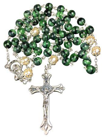 Rosenkranz Vater-Unser Glasperle grün 48 cm