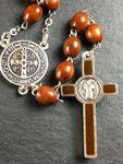 Rosenkranz Benediktus Medaille Holzperle hell oval 48 cm Gebetskette Kruzifix – Bild 4