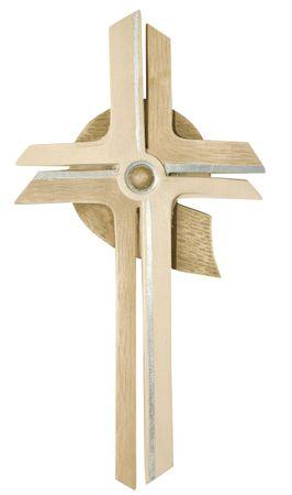 Wandkreuz modern Holz, gebeizt silberstrich