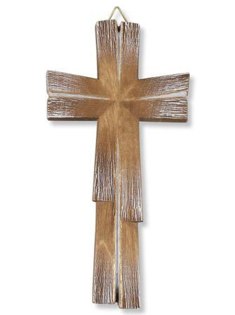 Holzkreuz geschnitzt, braun gold handbemalt