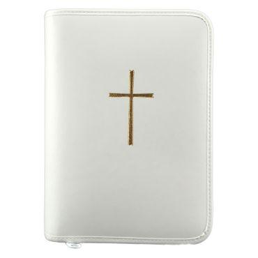 Gotteslobhülle Kreuz Gold Kunstleder Weiß