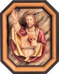 Herz Jesu Brustbild und Rahmen Holzfigur geschnitzt Südtirol 001