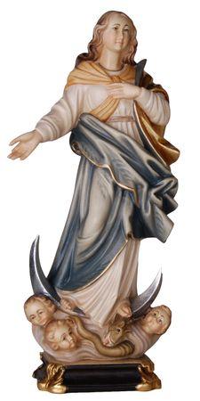 Immacolata mit Engel Holzfigur geschnitzt Südtirol
