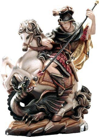 Heiliger Georg auf Pferd Holzfigur geschnitzt