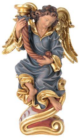 Engel mit  Leuchter links Holzfigur geschnitzt