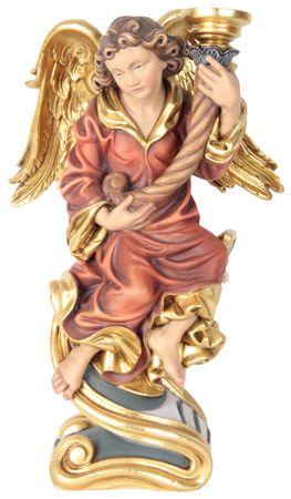 Engel mit Leuchter rechts Holzfigur geschnitzt