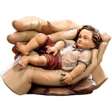 Geborgenheit des Kindes Holzfigur geschnitzt