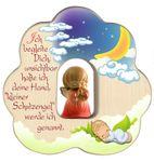 Wolke Schutzengel, rot Segen-Gebet Holz geschnitzt 12 cm 001