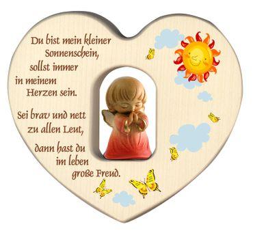 Herz mit Schutzengel, rot Gebet Holz geschnitzt 12 cm